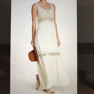 Lovestich Small Maxi Dress Lace Panel Ivory Long